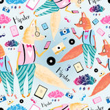 Pattern of foxes hipsters royalty free illustration