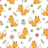 Pattern with foxes. Seamless pattern with cute cartoon foxes plants and flowers on white  background. Funny forest animals. Vector image. Children's Stock Photography
