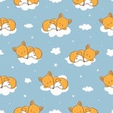 Pattern with foxes. Seamless pattern with cute cartoon sleeping foxes, clouds and stars on  blue background.  Little funny animal. Bedtime. Children's Royalty Free Stock Photography