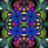 Pattern from fractal Flowers. Darkblue, green and purple palette Stock Photo