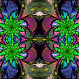 Pattern from fractal Flowers. Green, blue, and purple palette. F Royalty Free Stock Photo