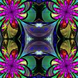 Pattern from fractal Flowers. Purple, green and brown palette. F Stock Photography