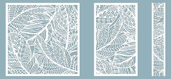 Pattern frame with feathers. Line, rectangle, square as a pattern of feathers. Template for laser, plotter cutting.  vector illustration