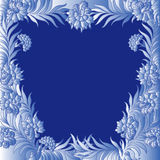 Pattern with a frame of frozen flowers. Pattern with a frame of bluish frozen flowers along the perimeter same as hoarfrost on window, hand drawing vector Stock Images