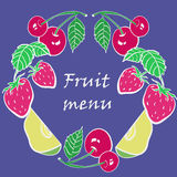 Pattern frame of fruits and berries Stock Photography