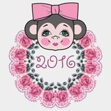 Pattern frame head monkey. Chinese zodiac: 2016 year monkey. Winter Christmas design. Stock Photography