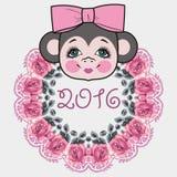 Pattern frame head monkey. Chinese zodiac: 2016 year monkey. Winter Christmas design. Stock Photography