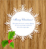 Pattern frame with holly berries Stock Images