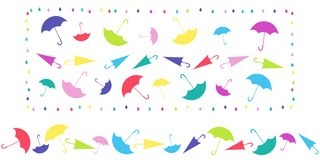 Pattern in frame and horizontal pattern from umbrellas in different positions on white background. vector illustration