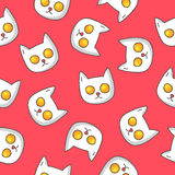 Pattern of fried eggs in the shape of a cat's head Stock Photos