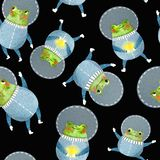 Pattern with frog astronaut stock illustration