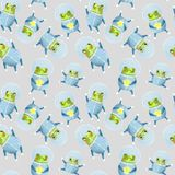 Pattern with frog astronaut vector illustration