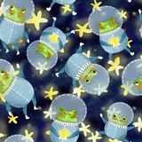 Pattern with frog astronaut royalty free stock photo