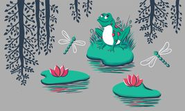 Pattern with frog, water lily, dragonfly, tree reflection on grey background. Hand drawn vector illustration can be used as a print for baby apparel, cards vector illustration