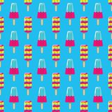 Pattern fruit and milk ice cream on stick on blue background. Seamless pattern summer ice cream eskimo. Pattern fruit and milk ice cream on stick on blue Royalty Free Stock Image