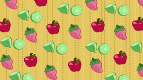 Pattern of fruits. Apples,  strawberries and lemons on yellow background, illustration Royalty Free Stock Photos