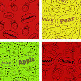 Pattern with fruits. Four seamless pattern with fruits and text Stock Photography
