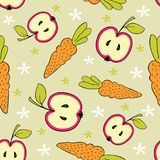 Pattern of fruits and vegetables and decorative elements on a beige background. With flowers Stock Image