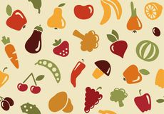 Pattern with fruits and vegetables Royalty Free Stock Image
