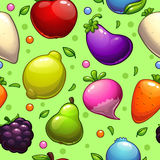 Pattern with fruits and vegetables Royalty Free Stock Photos