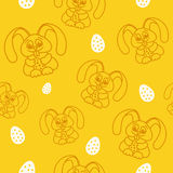 Pattern fun easter bunny with easter eggs seamless texture orang. E Stock Image