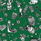 Pattern with funny animals, flowers and hearts. Stock Photo