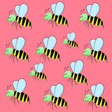Pattern funny bee. Magic funny colors cartoonish  little bee Royalty Free Stock Images