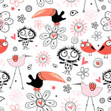 Pattern funny birds Royalty Free Stock Photos