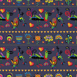 Pattern with funny birds, flowers and hearts. Royalty Free Stock Photography