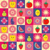 Pattern with funny cartoon flowers and set of cute Fruit and veg. Seamless pattern with funny cartoon flowers and set of cute Fruit and veg. Vector cute floral Royalty Free Stock Photos