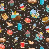 Hand-drawn cartoon background with food and drinks elements, bre Royalty Free Stock Photo