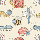 Pattern of the funny cartoon insects. Vector pattern of the different amusing insects Stock Photos