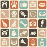 Pattern with funny cat and dog icons Stock Images