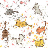 Pattern of funny cats, seamless stock illustration
