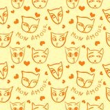 Pattern with funny cats in yellow and orange colors. Vector image in the style of a children`s illustration Royalty Free Stock Image