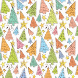 Pattern with funny christmas trees Stock Photo