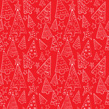Pattern with funny Christmas trees Royalty Free Stock Images