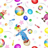 Pattern with funny clowns and toys. Over stars and entertainment tools background Royalty Free Stock Photography