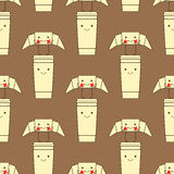 Pattern with funny croissant and take away coffee cup Royalty Free Stock Photos