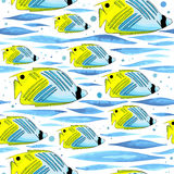 Pattern with funny fishes, waves and bubbles. Stock Photos