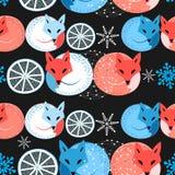 Pattern funny fox vector illustration