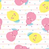 Pattern with cute cartoon fruits. Pattern with funny fruits on background with pink lines, cute fruits with grimaces vector illustration