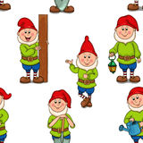 Pattern funny gnomes. Set of different garden gnomes.  on white background Stock Photography
