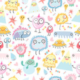 A pattern of funny monsters Royalty Free Stock Image