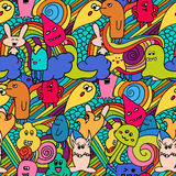 Pattern Funny monsters graffiti. Hand drawn sketch art.. Funny monsters graffiti. Hand drawn sketch art. Doodle vector illustration. can be used for backgrounds Stock Photography