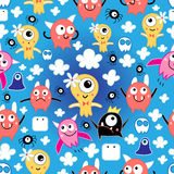 Pattern funny monsters. Seamless pattern bright fun little monsters in the clouds on a blue background vector illustration