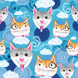Pattern funny portraits of dogs and cats Stock Photos