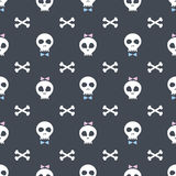 Pattern with funny skulls. Vector creative pattern with skull boys and skull girls Stock Image