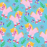 pattern with funny unicorns stock illustration