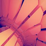 Pattern of futuristic geometric shapes surrounded by pink mist. Computer generated geometric illustration. 3d rendering. Colored pattern of futuristic geometric stock illustration